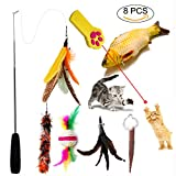 Catnip Toys,Retractable Cat Toys Feather Wand with 4 Refills Feathers and 1 Sisal Ball 1 Fish Shape Doll Cat Catch the LED light,Cat Exercise Interactive Toys and Training Tools,Cat Pillow Chew toys