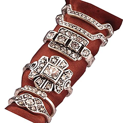 SUNSCSC Retro Vintage Multilayers Crystal Above Knuckle Ring Band Midi Ring Set of 6 Pcs (Antique (Rings Cheap Silver)