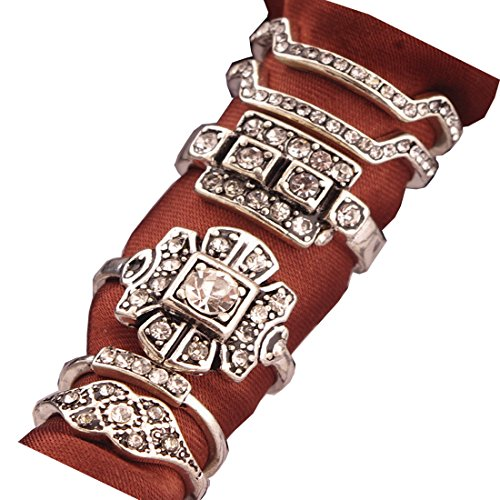 SUNSCSC Retro Vintage Multilayers Crystal Above Knuckle Ring Band Midi Ring Set of 6 Pcs