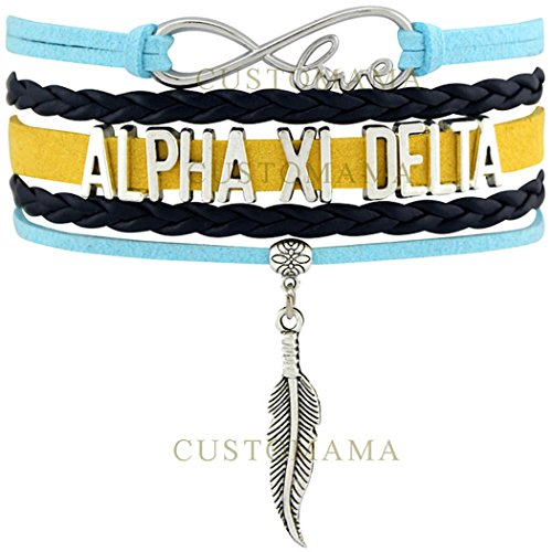 ALPHA XI DELTA Love Charm Bracelet Sorority Pledge College Student Gift Infiniti Jewelry