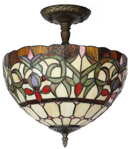 Amora Lighting AM1081HL12 Tiffany Style Stained Glass Ceiling Light Fixture (Stained Glass Fixture Light Table)