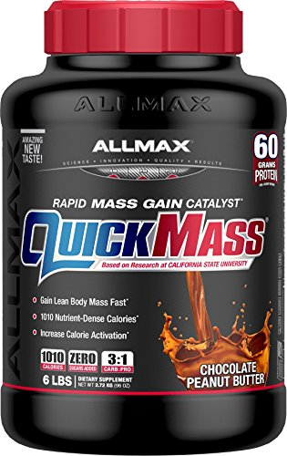 ALLMAX QUICKMASS LOADED, Rapid Mass Gain Catalyst Powder, Zero Trans Fat, Chocolate Peanut Butter Flavor, Dietary Supplement, 6 Pound