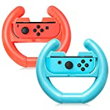 Joy-Con Wheel for Nintendo Switch Controller [ 2-Pack], TJS Steering Wheel Accessory Attachment, Wheel Grip for Use With Nintendo Switch Joy-Con Controllers (Blue and Red)