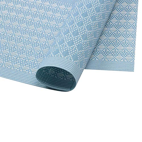 Furnily PVC Place Mats for Kitchen Table Set of 6 Heat Insulation Non Slip Plastic Dining Table Mats Crossweave Woven Placemats (Blue) by Furnily (Image #3)