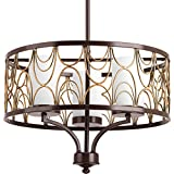 Progress Lighting P4699-20 3-100W Medium Base Chandelier, Antique Bronze For Sale