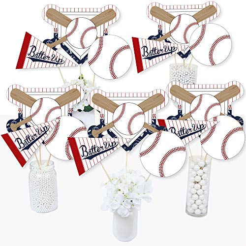 Batter Up - Baseball - Baby Shower or Birthday Party Centerpiece Sticks - Table Toppers - Set of 15