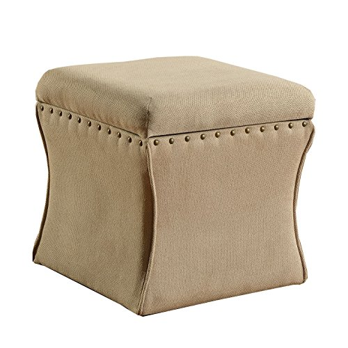 HomePop K4710-F696 Cinched Curved Square Storage Ottoman with Nailhead Trim, 16.75