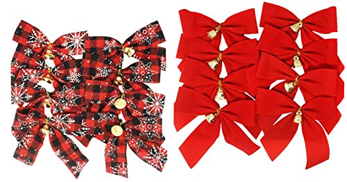 Mini Christmas Bows with Bells, 16 Bows, Plaid and Red