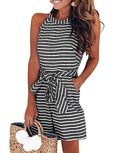 (PRETTYGARDEN 2019 Women's Striped Sleeveless Waist Belted Zipper Back Wide Leg Loose Jumpsuit Romper with Pockets (A1-Black, Medium))