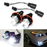 iJDMTOY 7000K Xenon White 5W High Power LED Angel Eyes Bulbs for BMW E39 E53 E60 E63 E64 E65 E66 E83 5 6 7 Series X3 X5 + Free iJDMTOY Lanyard Keychain Gift