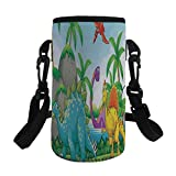 Small Water Bottle Sleeve Neoprene Bottle Cover,Jurassic Decor,Dinosaurs Living in the Jungle Illustration Palm Trees Lakeside Stones Fun,,Great for Stainless Steel and Plastic/Glass Bottles, Sport an