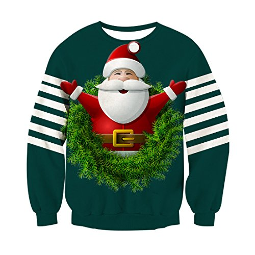 Leapparel Mens and womens santa claus outfit Sweatshirt 3D print Cool Christmas Pullover shirts Green -