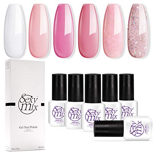 Gel Nail Polish for Nails, Soak Off UV Pink Gel Kit Required Gel Base Top Coat LED Nail Lamp
