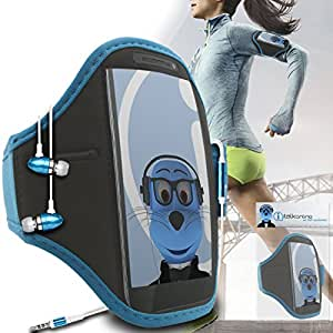 Sky Blue Black Adjustable Sports GYM Jogging Running ArmBand Case Cover with 3.5mm Aluminium Headphones For ZTE Warp Sequent