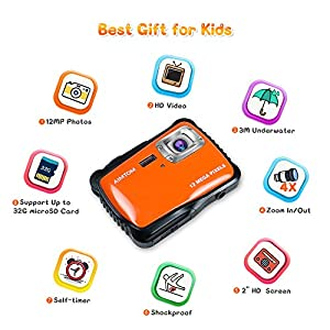"AIMTOM Kids Underwater Digital Waterproof Camera with 8G microSD Card, 12MP HD Boys Girls Action Camcorder, 2"" Screen Children Birthday Holiday Gift Learn Sports Cam - Floating Wrist Strap (Orange) from AIMTOM"