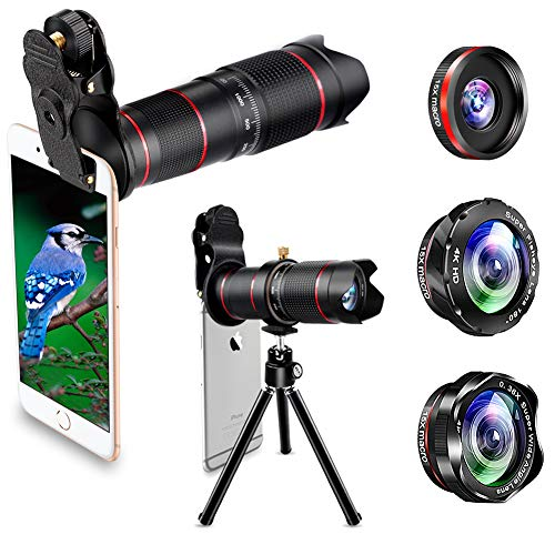 (Phone Camera Lens, Best Keiyi 15X iPhone Camera Telephoto Lens kit Double Regulation Lens Attachment with Tripod and Universal Clip Compatible with iPhone X/XS/XS Max/XR/8/7 Plus Samsung Android Phone)