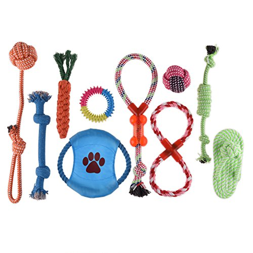 Petacc Pets Puppy Dog Pet Ball Rope and Chew Toys Dog Training Toy Teeth Cleaning Toys Pet Dental Teaser For Small to Medium Dogs, Set of 10