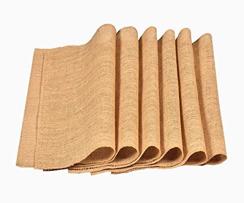 """Eloine Linen Burlap Placemat - 12"""" Wide x 18"""" Long- Set of 6 -Sewn Edges No FRAY Place mats - Burlap placemats Set of 6 Natural Coloured- Burlap Table mat"""