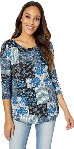 Karen Kane Women's 3/4 Sleeve Shirttail Tee Print Large ()
