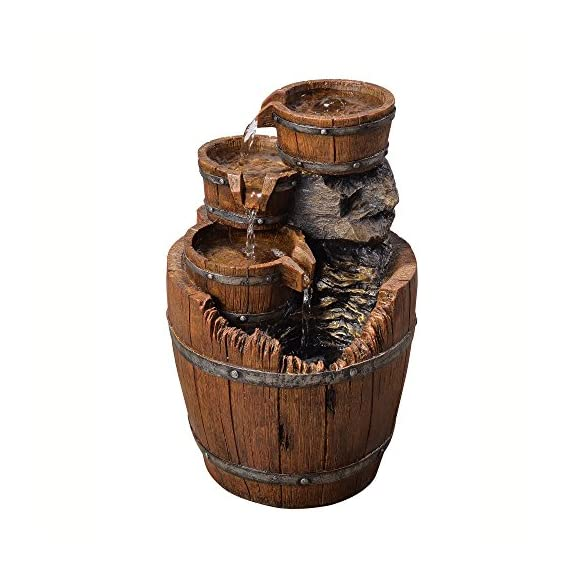 "Peaktop Outdoor Wood Barrels Fountain, 17"", Brown - Easy to assemble - requires no additional hardware. Water spills from the top and flows down the sides of the vase. Create a gentle presence with the soothing sounds of water. Made of glazed polyresin. Perfect for Indoor/Outdoor use. - patio, outdoor-decor, fountains - 51xphVBH3fL. SS570  -"