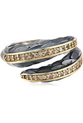 """Elizabeth and James """"Audubon"""" White Sapphire and Plated 23K Gold Feather Bypass Ring"""