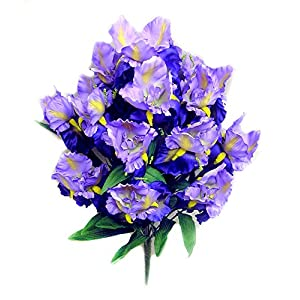 Admired By Nature 14 Stems Full Bloom Satin Iris Bush for Home 27