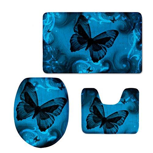 3D Blue Butterfly Printed Bathroom Rug Set 3pcs Non-Slip Bath Mat+Contour Rug+Toilet Lid Cover CHAQLIN