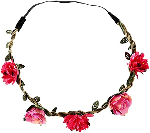 Flower Wreath Headband Crown Floral Garland Boho Hair Band for Festival Wedding