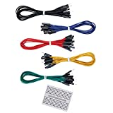 Elegoo 50 PCS Jumper Wires Premium 200mm M/F Male-to-Female with free 170 tie-points breadboard