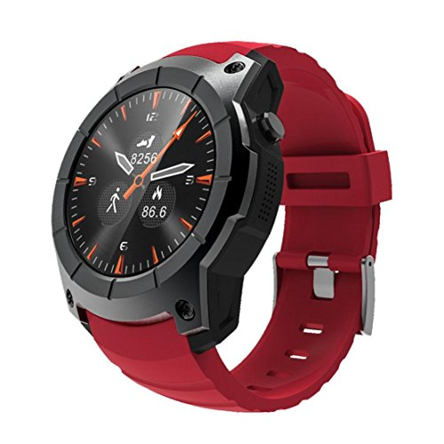 L@YC New S958 Smart Watch Color Screen SIM Card Slot TF Card Heart Rate Monitoring Multiple Motion Modes GPS Professional Sports Watch for Android4.4 and IOS8.0, red