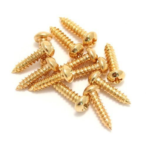 - Fender Vintage-Style Stratocaster/Telecaster Tuning Machine/String Tree Mounting Screws for Electric Guitar, Gold