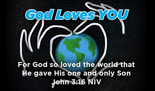 Children's Christian Pass Along Pocket Scripture Cards - God Loves You | John 3:16 | Pack of 25