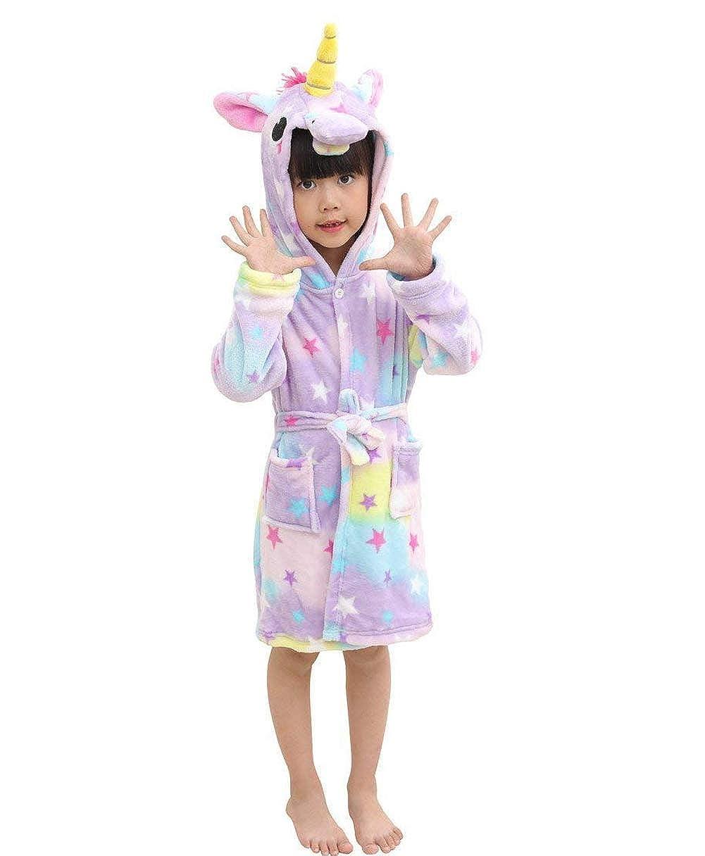 AooToo Kids Bathrobe Flannel Cartoon Unicorn Hooded Nightwear Unisex Soft Loungewear