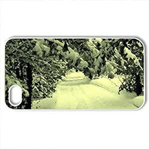 road - Case Cover for iPhone 4 and 4s (Winter Series, Watercolor style, White)