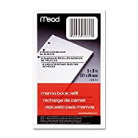 Papel Meal MEA-46530 para recargar libro de notas - 80 Hoja [s] - Reglas estrechas - 3 x 5 - 2 cada una - Blanco