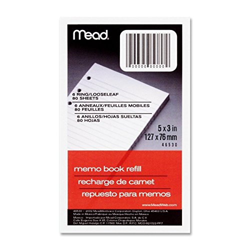 6 Pack Of Mead 46530 3 x 5 Memo Book Refill, 80 Sheets, White Size: 6 Pack Model: Office Supply - 5 Sheet Refills