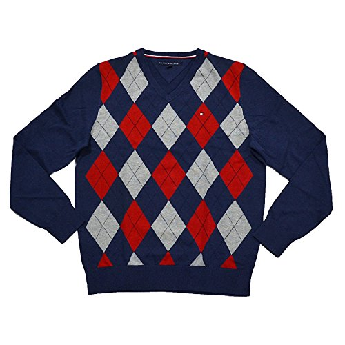 Navy Argyle Sweater - 4