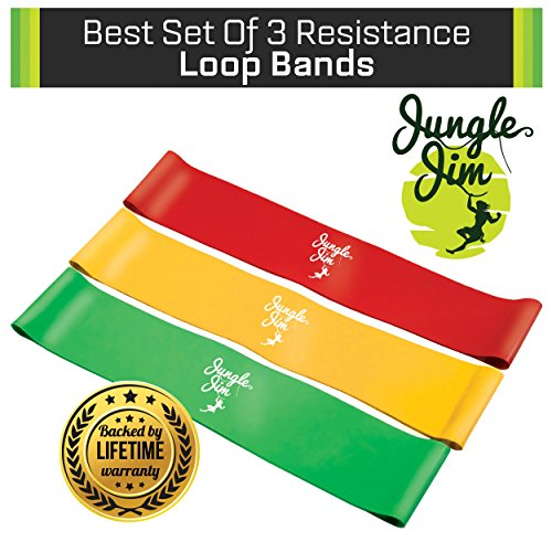 Jungle Jim Best Set of 3 Exercise Loop Bands (Light, Medium, Heavy) for Strength Training Speed Agility & Toning Core. Compliment Pilates Yoga P90x Crossfit; Physical Therapy on Leg and Arm Exercisers - Wonders As Butt Leg and Thigh Lifter