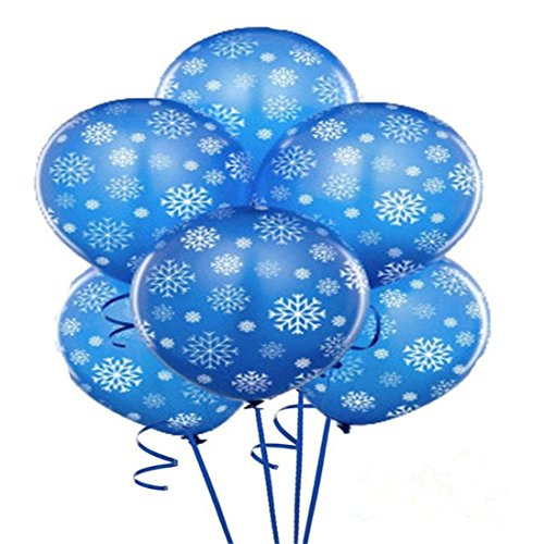 YJYdada 12PC Frozen Blue Snowflake Helium Latex Balloons Christmas Holidays Decoration
