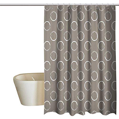 (Suchashome Taupe Punch-Free Shower Curtain Simple Artistic Pattern Ring Shapes Grungy Display with Brushstrokes Vintage Style No Chemical Odor, Rust Proof Grommets 55