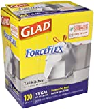 Glad 70427 ForceFlex Tall Kitchen Drawstring Bags, 13 gal, .90mil, 24x25 1/8 White (Box of 100)