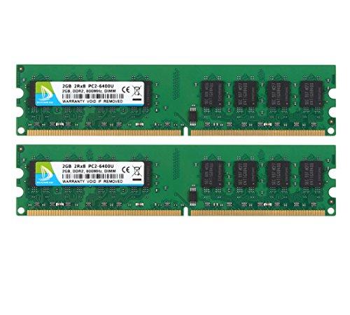 DUOMEIQI RAM 4GB Kit ( 2X 2GB ) DDR2 800MHz PC2-6300 PC2-6400 DDR2 800 1.8v (240 PIN) DIMM Desktop Memory 800 Mhz Desktop