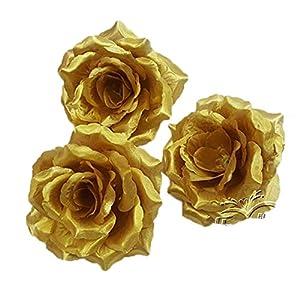 "ALLHEARTDESIRES 10PCS 4"" Diameter Gold Silk Rose Wedding Flower Head for DIY Hair Clip Bridal Bouquet Bridesmaid Headpiece Brooch Boutonniere Party Decoration 24"