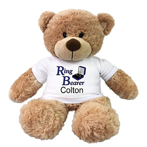 (Personalized Ring Bearer Teddy Bear - 13 Inch Tan Bonny Bear)