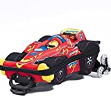 3D Super Power F1 Race Patterned Locking Lightweight Carry On Kids Luggage Suitcase, Graphic Trendy Sports Car Design, Hardshell, Rolling, Multi Compartment, Handle Travel Case, Red, Black, Size 21''