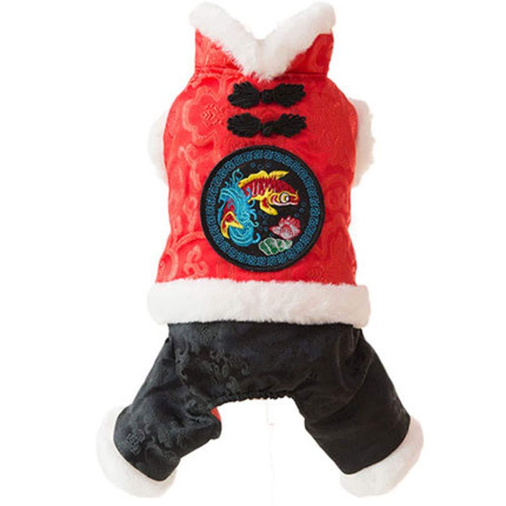 HUIFA Tang Vestiti Cane Vestito Autunno E Inverno Spesso Teddy Bomei di Orso Pet Inverno Caldo Spessore A Quattro Zampe Vestiti Pulsante retrò A (Dimensioni   XS(0-1.5kg))