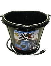 Farm Innovators Model FB-15R Rubber 18-Quart Flat-Back Heated Bucket with Guard, 90-Watt