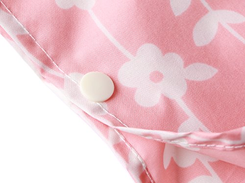 LINENLUX Waterproof Rain Poncho Jacket Coat for Adults Hooded with Zipper(Pink Floral) by LINENLUX (Image #7)