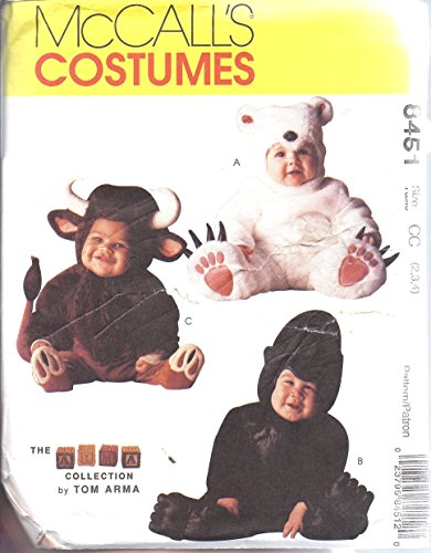 8451 McCalls Sewing Pattern UNCUT Girls Boys Child Halloween Costume Tom Arma Gorilla Polar Bear Bull Size 2 3 4