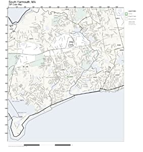 Worksheet. Amazoncom ZIP Code Wall Map of South Yarmouth MA ZIP Code Map